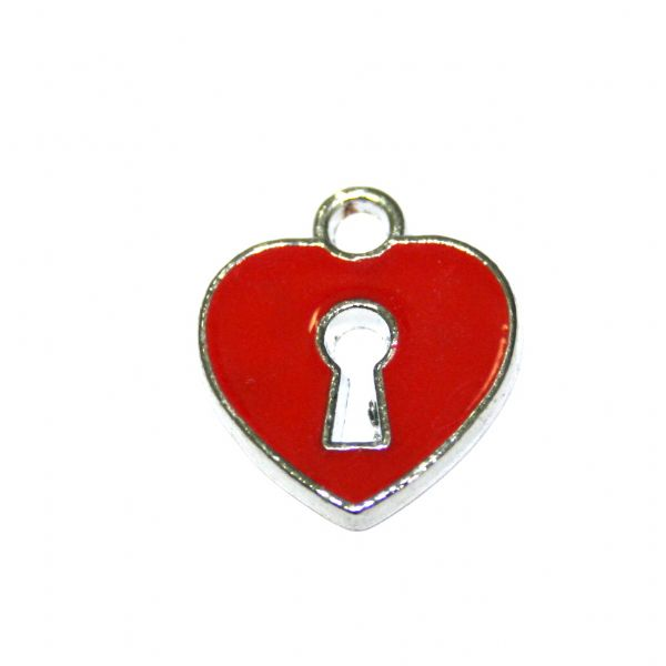 1 x 17*15mm rhodium plated dark red heart with lock key hole enamel charm - SD03 - CHE1217